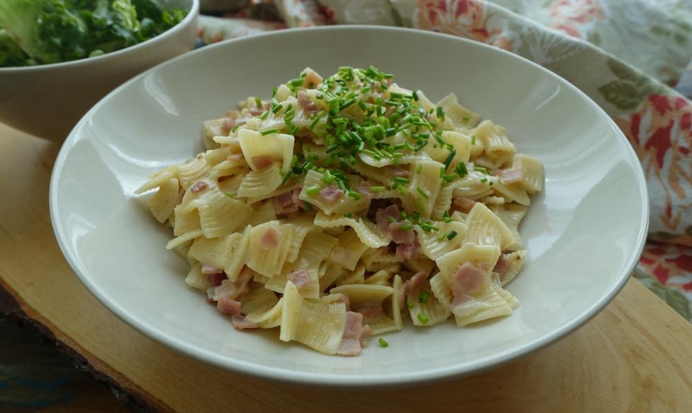 Schinkenfleckerl aus nur einem Topf; österreichisch kochen am #Weltnudeltag; ein Nudelklassiker modern interpretiert