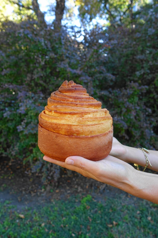 Briocherose, Brioche feuilletée - im Freien fotografiert; perfekt für ein französisches Frühstück!