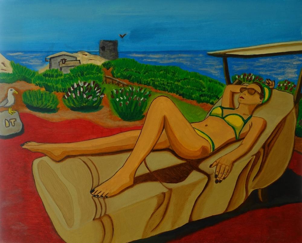 """""""La mia musa e il gabbiano/Meine Muse und die Möwe"""" von Denis Terenzi, Öl auf Leinwand, 50 x 40 cm"""