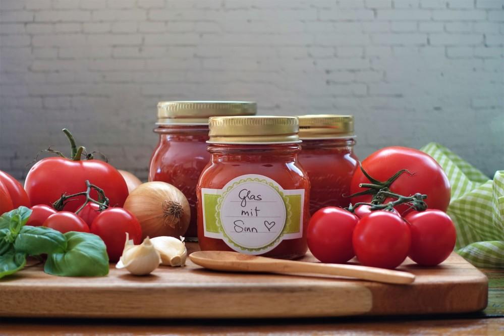 """""""Sugo al pomodoro"""" im Einmachglas, für Pasta, Pizza & Co., #glasmitsinn #sugomitsinn #afba19 #gegenlebensmittelverschwendung vegan, vegetarisch Gemüse einkochen, lecker und kreativ"""