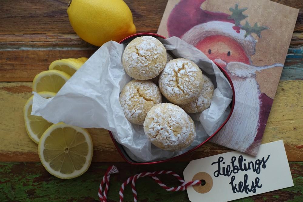Crinkled Cookies, Crinkles, Kekse mit rissiger Oberfläche, Lemon Crinkles, Zitronen - Crinkles, erfrischend zitronig, weihnachtlich, Kekse für das ganze Jahr