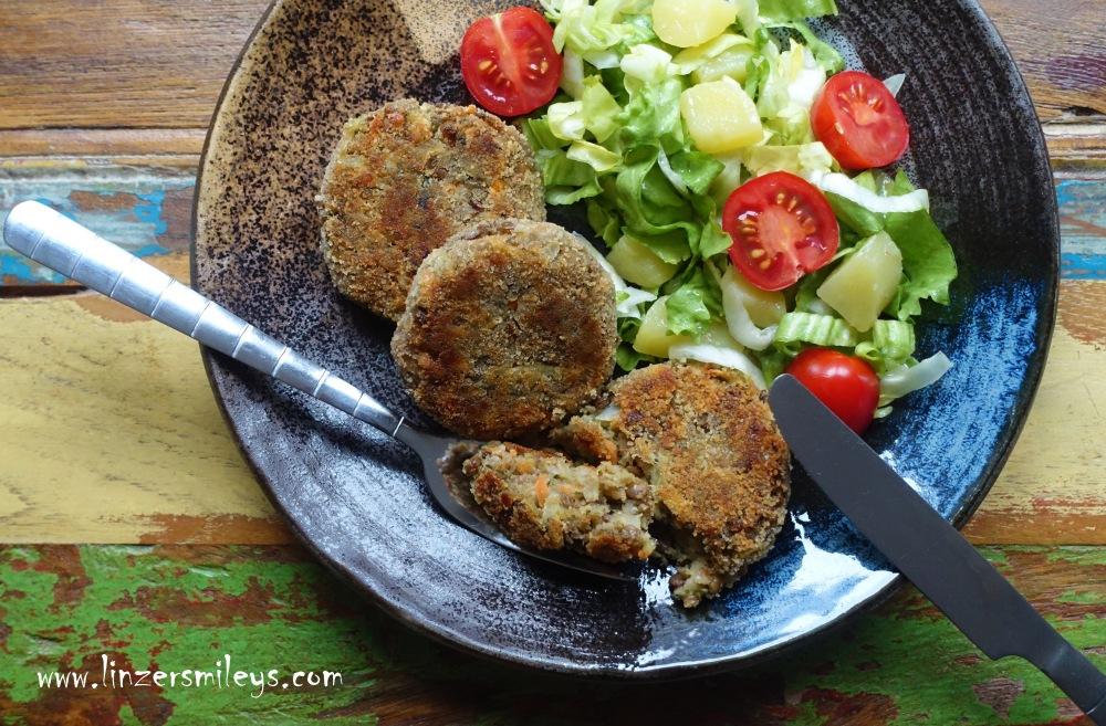 vegetarisch kochen, Linsen, Hülsenfrüchte, Wurzelgemüse, Linsen-Laibchen, Linsen-Frikadellen, Linsen-Puffer, Bratlinge mit Linsen, Fleischersatz, fleischlos kochen, essen in der Fastenzeit