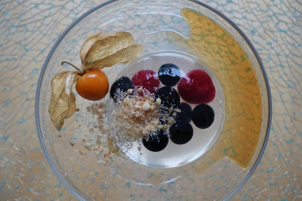 Raindrop Cake, Regentropfenkuchen mit Beereneinlage, Ahornsirup und Keksbröseln, Foodtrend, Japan, USA, beinahe kalorienfrei