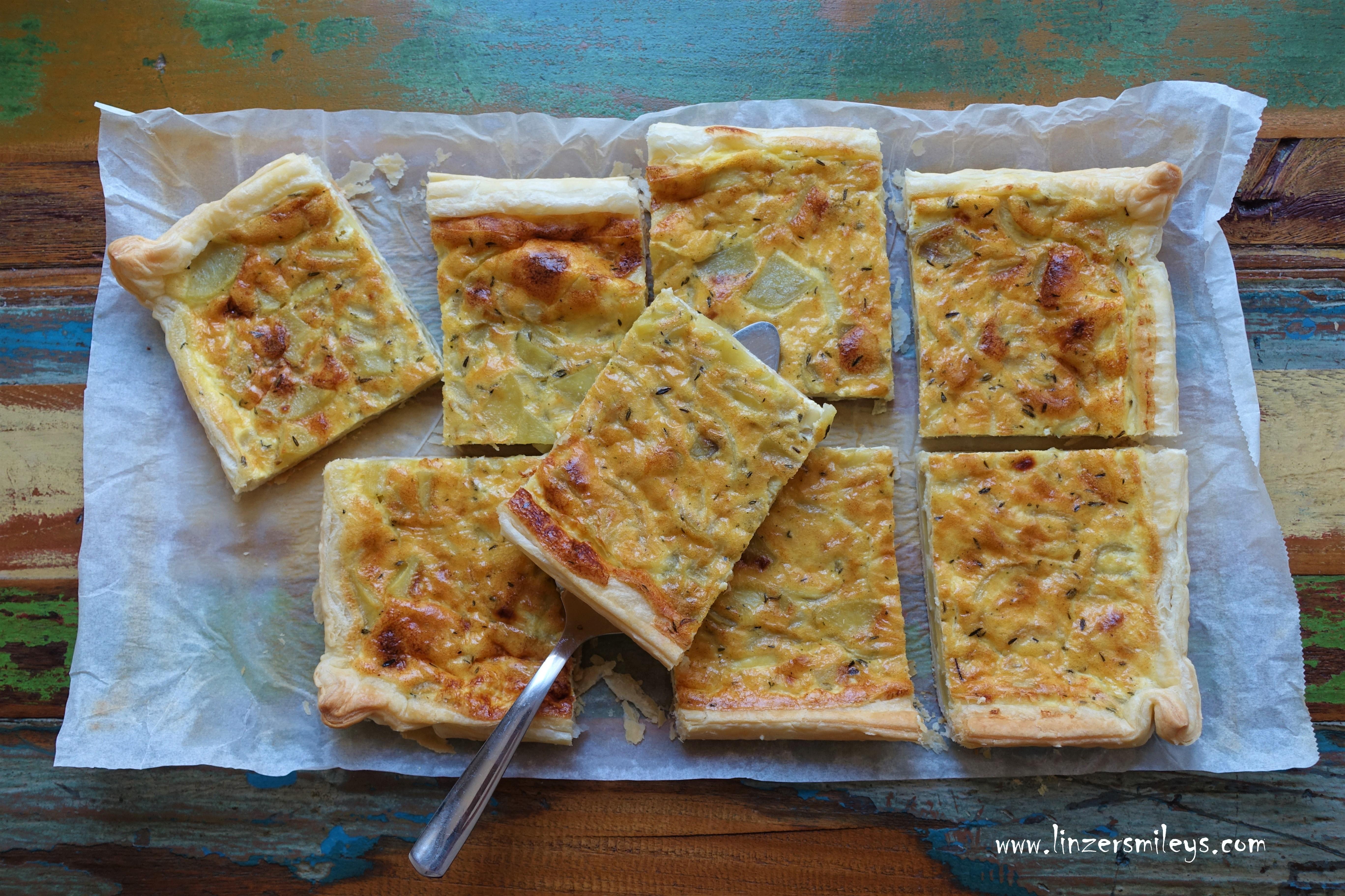 #Quiche #Tarte & Co., Tarte mit Kartoffeln, pommes de terre, französisch backen, Blätterteig, Snack, Picknick im Grünen, kalt oder warm, vegetarisch