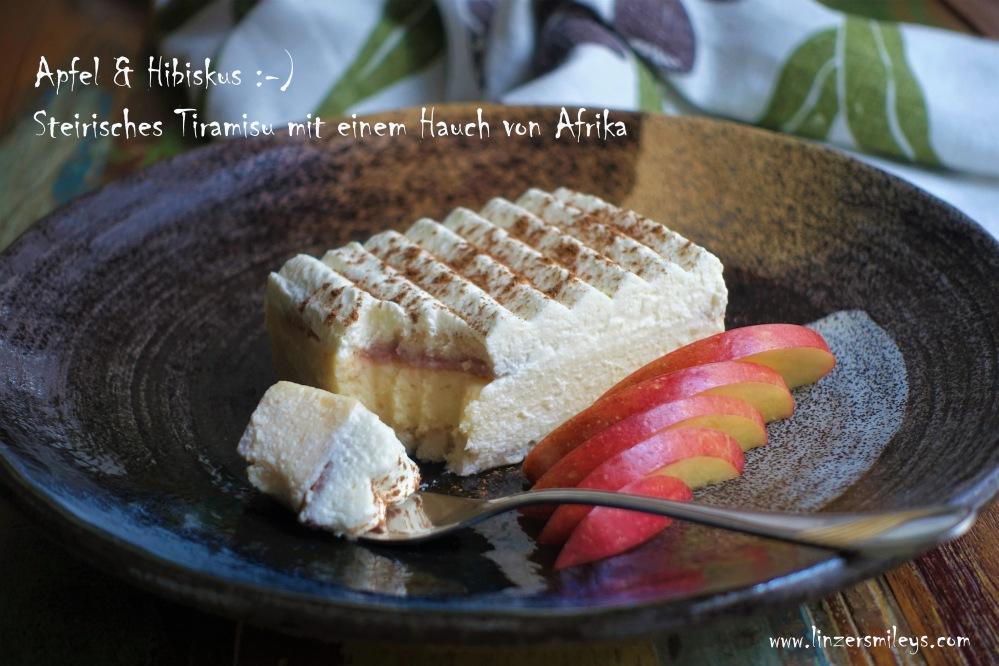 Steirisches Tiramisu, Apfeltiramisu, mit Mascarpone, mit einem Hauch von Afrika, Hibiskustee, Malventee, Hibiskusblüten, Küchenexperiment, Fusion Food, steirisch, afrikanisch, Rezept von Daniela Terenzi, No Bake Cake, Süßes ohne Backen, Apfelmus selbst gemacht #linzersmileys #camerootz