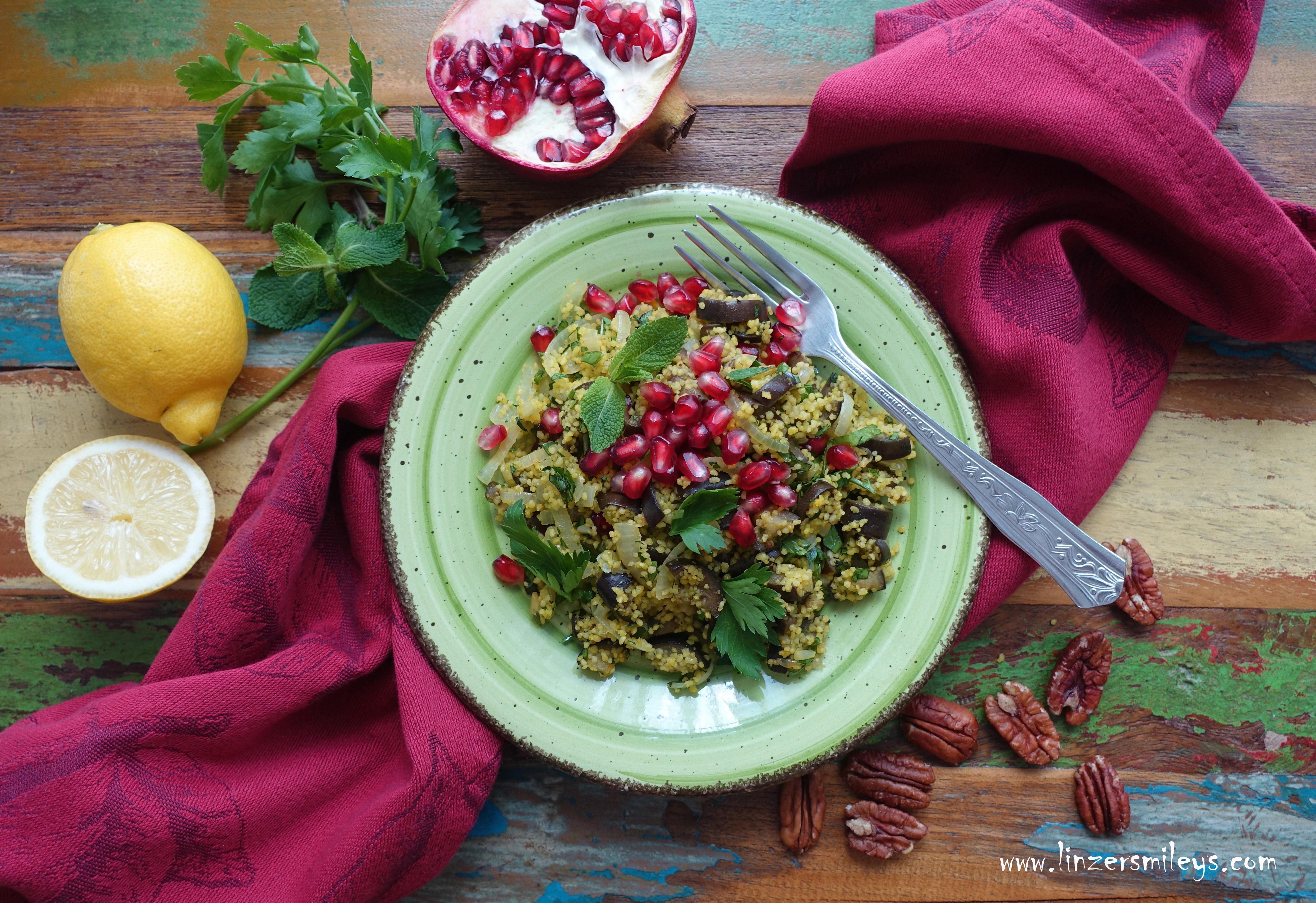 Couscous vegan, vegetarisch, mit Melanzani, Auberginen, orientalisch kochen, Salat/Salad to go, Homemade Takeaway, Essen im Bad, selbst gemacht, erfrischend, einfach, leicht, Sommerkost