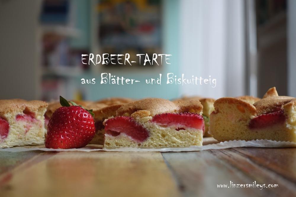 Erdbeertarte aus zweierlei Teig, mit Biskuit- und Blätterteig, Erdbeeren im Doppelbett, ein Kuchen mit doppeltem Boden, originell, köstlich, einfach zu transportieren, Fingerfood, perfekt für ein Picknick im Grünen, backen mit Erdbeeren, Superfood, heimische Superfrüchte, Erdbeerzeit