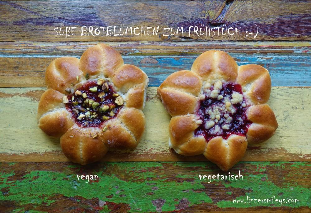 vegan, vegetarisch, Streuselkuchenblümchen, Rezeptidee von Daniela Terenzi, #linzersmileys Streuselkuchen aus Hefeteig, in Blümchenform, süße Brotblumen, aus Milchbrotteig, Germteig, zum Frühstück, Frühstücksidee für den Muttertag, mit Powidl, Streusel, Crumble