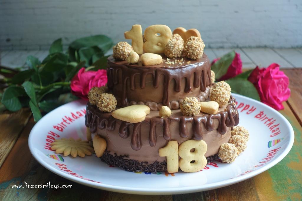 Drip Cake, gedrippte Stocktorte im Kleinformat, mit Nuss-Nougat-Creme, Mascarpone, Schokolade, Geburtstag, Trendtorte, Tortentrend, #linzersmileys