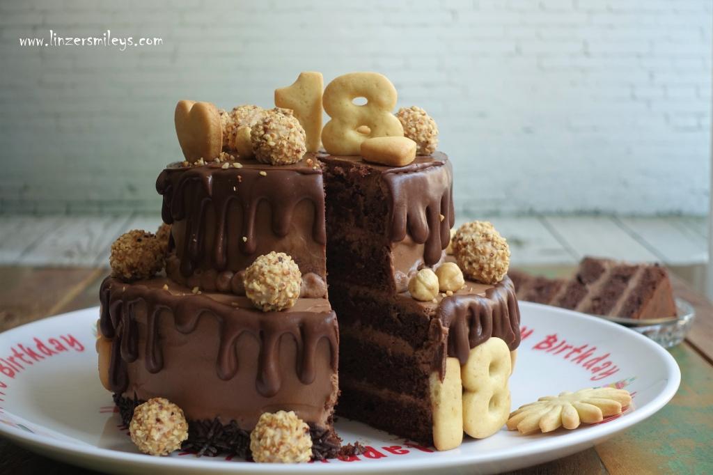 #linzersmileys Dripcake, Drip Cake, Nuss-Nougat-Creme, Stocktorte, zum 18. Geburtstag, backen mit Liebe, Trendtorte, Tortentrend, Foodtrend