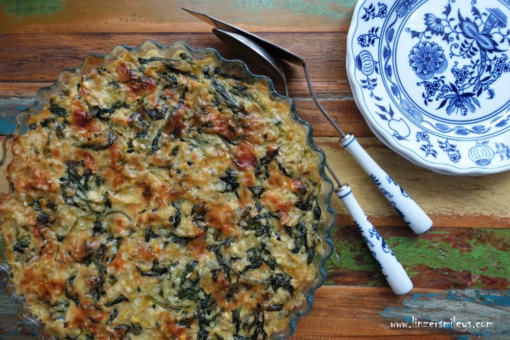 Spanáki sto foúrno/Gebackener Spinat mit Lauch und Reis, griechisch kochen, mediterran, vegetarisch, EasyCooking, Gemüse aus dem Ofen, heimisch, regional, saisonal