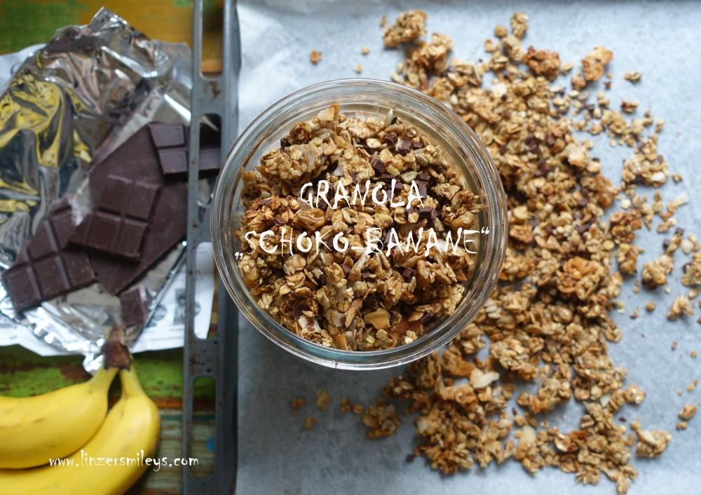 Geschenk aus der Küche mit dem besonderen Extra, Granola Schoko-Banane, Knuspermüsli, selbst gemacht, Resteverwertung, braune Bananen verwerten, nachhaltig #linzersmileys DIY-Geschenkidee, Frühstück
