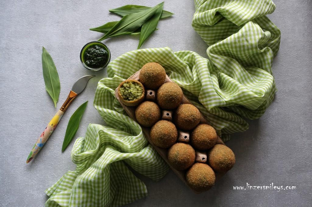 Es grünt so grün der Bärlauch, bärlauchgrün, Bärlauchzeit, Bärlauchrisotto, Bärlauchpaste, Risottoeier, sizilianisch inspiriert, Arancini di Pasqua, österlich kochen, Ostern, pikante Ostereier, frittiert, paniert, Kochkunst, #linzersmileys - Foodblog von Daniela Terenzi