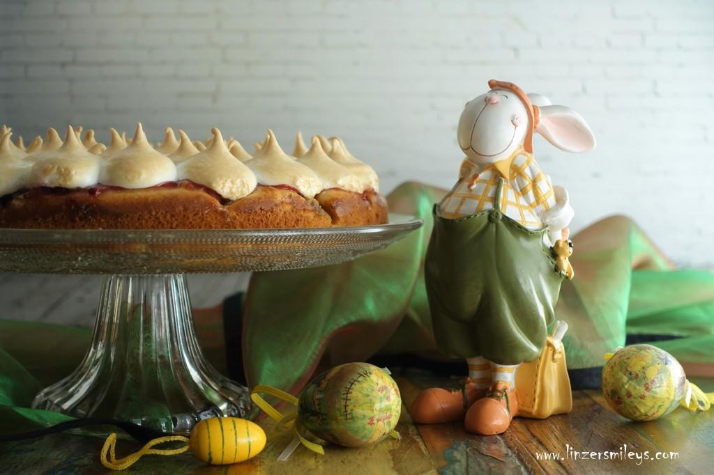 Rhabarberkuchen mit Schneehäubchen, backen für Ostern, für den Osterhasen, mit Rhabarber, #linzersmileys