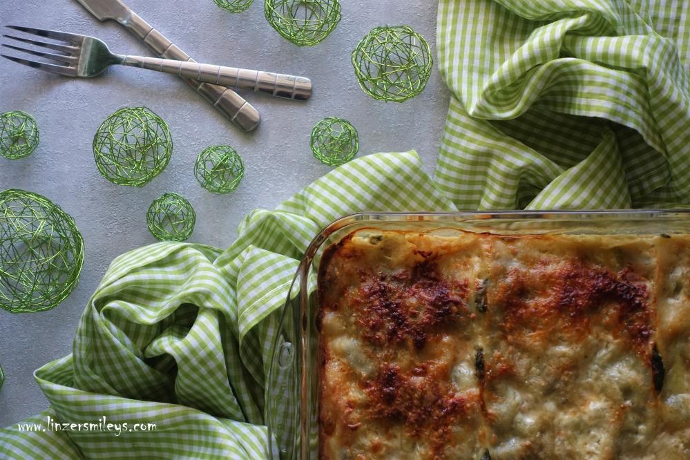 Lasagne con spinaci e aglio orsino, mit Blattspinat und Bärlauch, Frühling, Tradition, Brauchtum, Gründonnerstag, es grünt so grün, Fastenzeit, grüne Gerichte, vegetarisch, Nudelauflauf, italienisch kochen