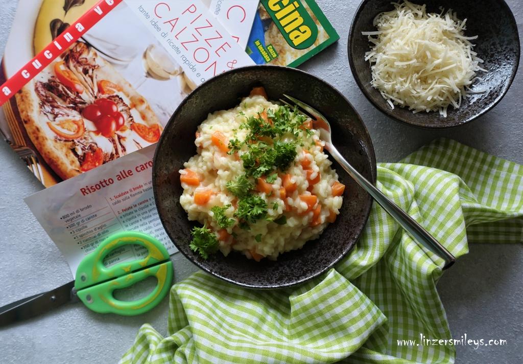 Risotto alle carote, Karotten-Risotto, mit Möhren, vegetarisch kochen, italienisch, mediterran, easy-peasy, Reisgericht, nachhaltig kochen, Resteverwertung, ausmisten, Rezeptefundus #linzersmileys
